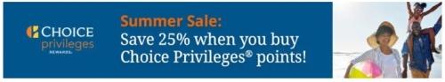 チョイスホテルズ(Choice Privileges)のポイントを購入で25%OFFキャンペーン