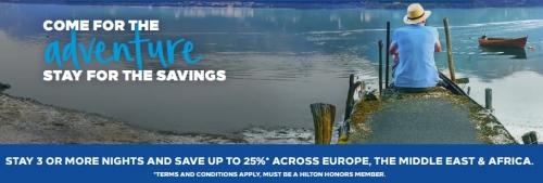 ヒルトンオナーズでヨーロッパ、中東、アフリカでの長期滞在で最大25%OFFセール