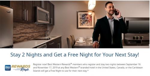 ベストウエスタン 無料宿泊とダブルポイントキャンペーン