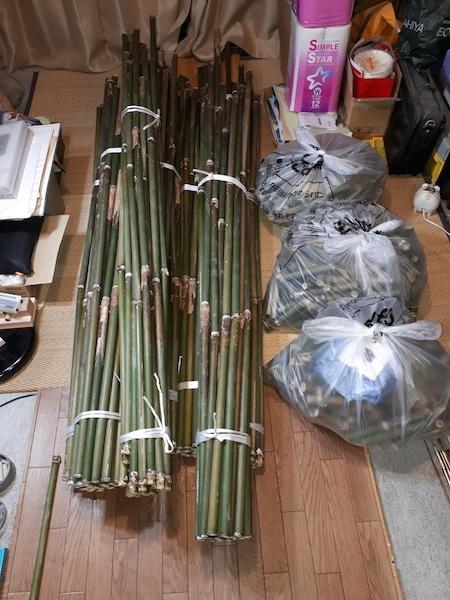 とりあえず切り終わった竹