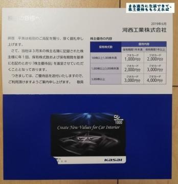 河西工業 クオカード1000円相当01 201903