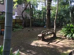 洗足池散策 不自然に置かれたベンチ