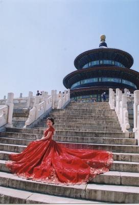祈年殿をバックに記念撮影。 2015年 天壇公園 北京