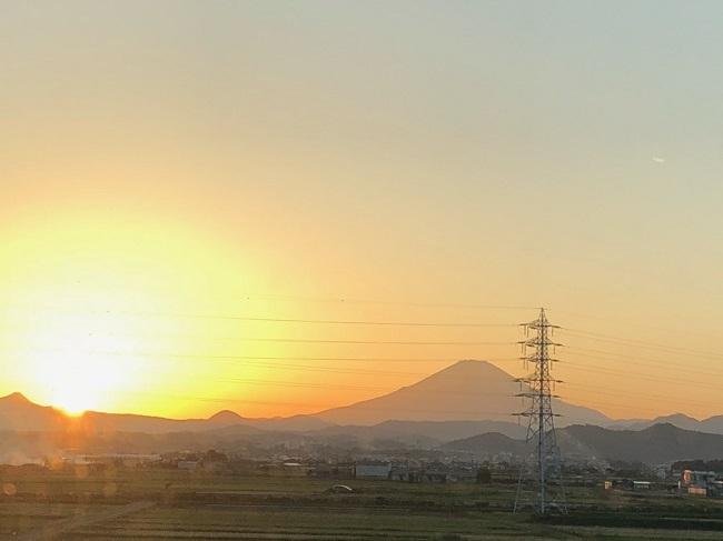 夕日と富士山2018①