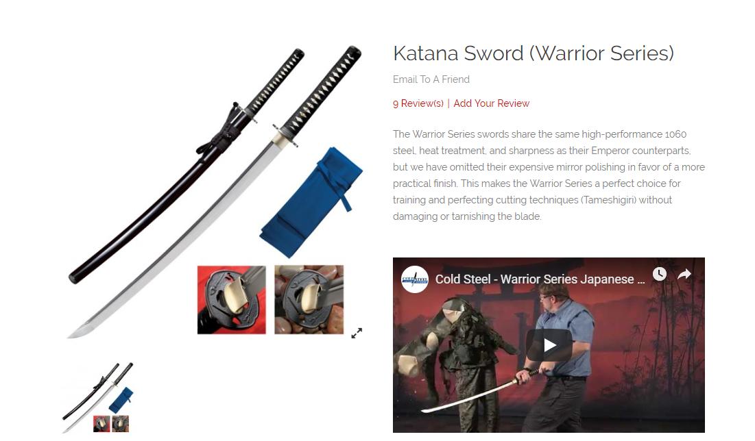 cold steal katana sword