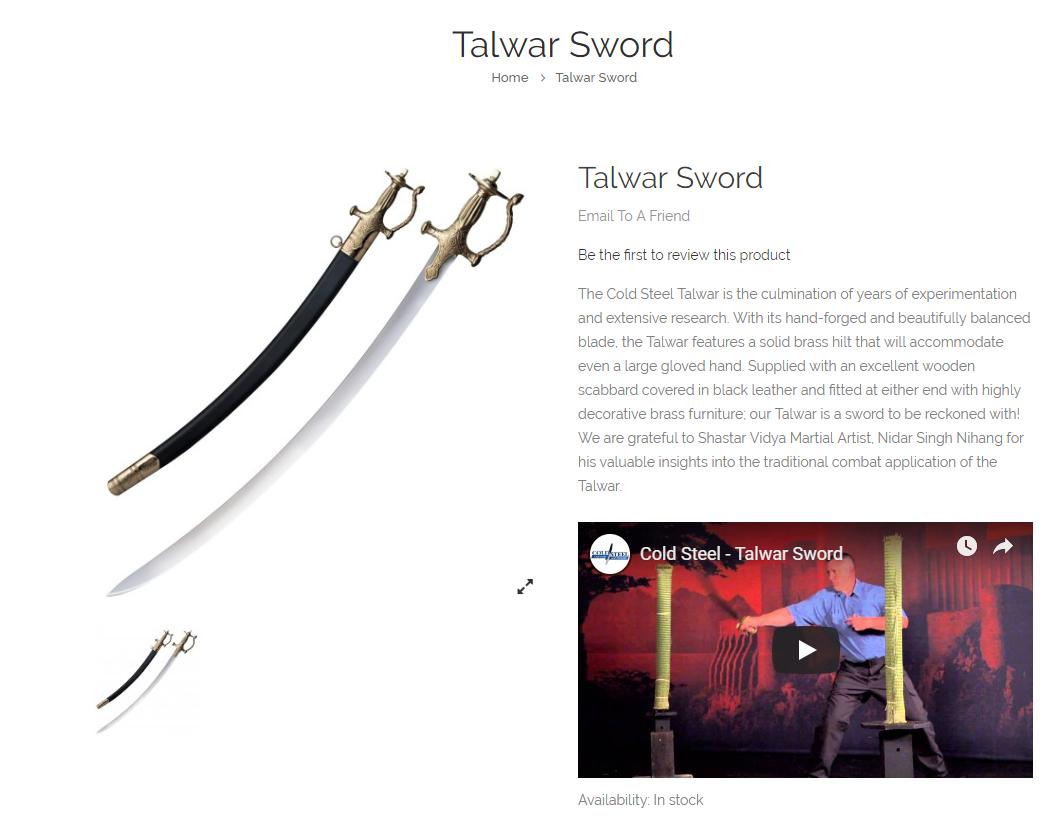 cold steal talwar sword