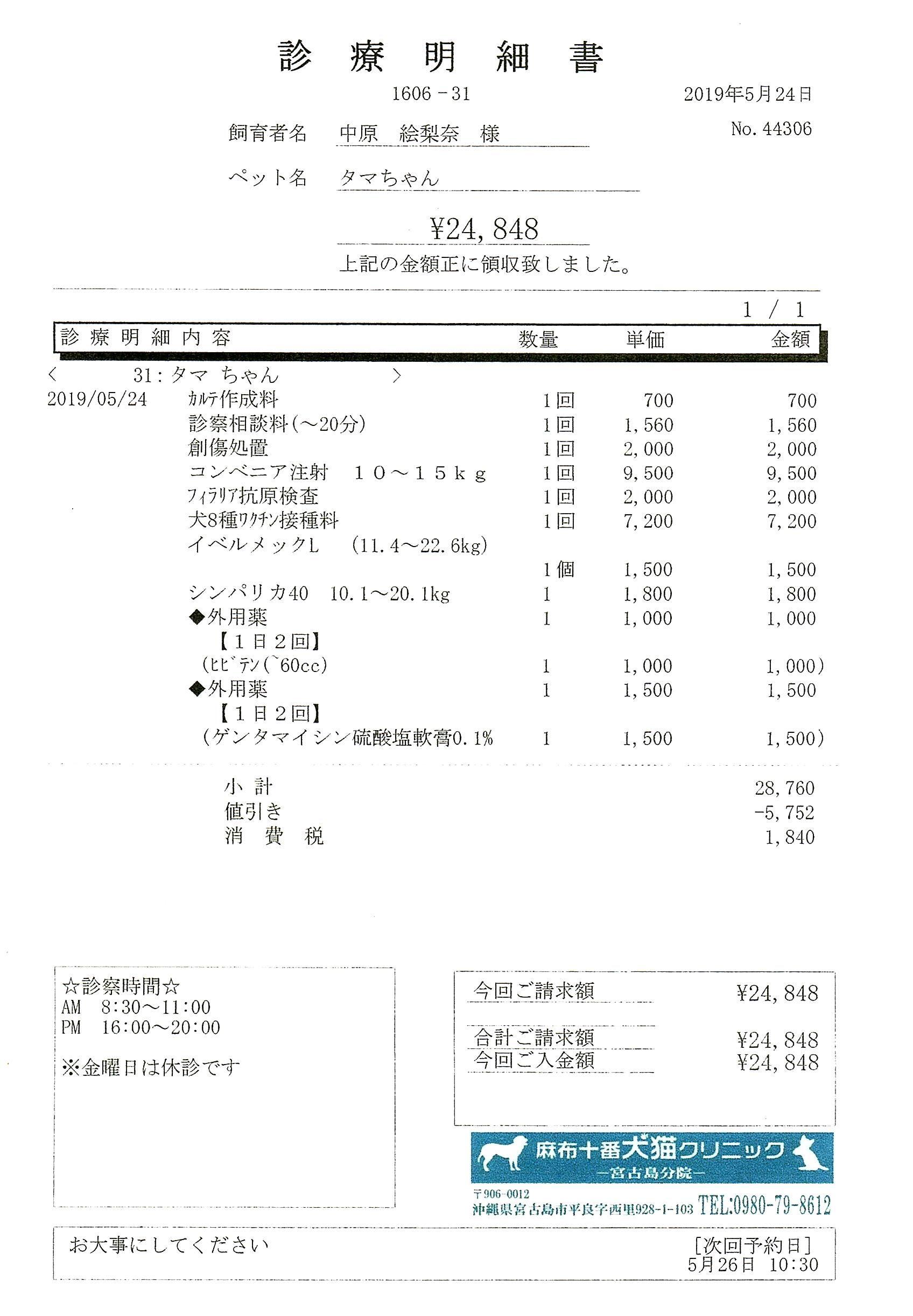タマ診療明細1