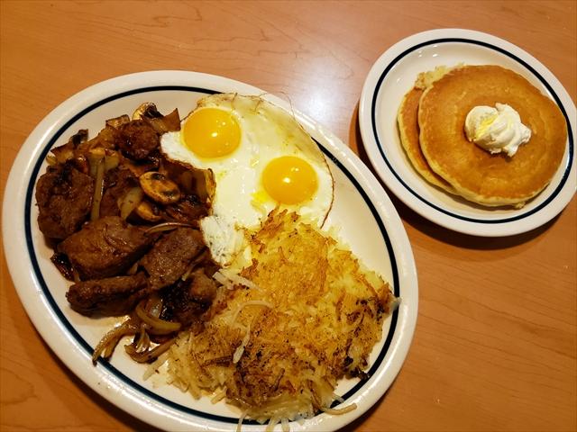 20190517_080022_R 未掲載 ハワイ6 2日目の昼食 コンボ サーロインティップスエッグス sirloin tips and eggs