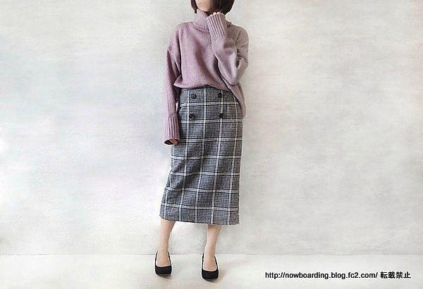 ミモレ丈チェックタイトスカート LFO 購入 感想 ブログ