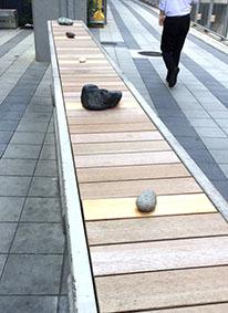 2019914渋谷川そばに不思議な石1