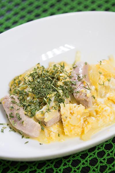 マグロの卵とじ