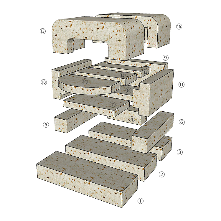 大谷石ピザ窯POPOLAの組み立て方1