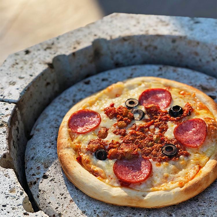 チリビーンズのピザ