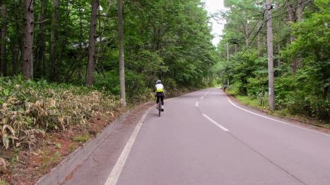 菅平から県道経由で鳥居峠方面に向かいます。ここも下り基調だけど微妙にアップダウン。