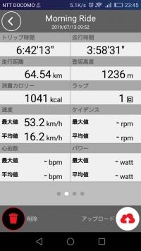 2019/07/13 菅平サイクリング 走行時間