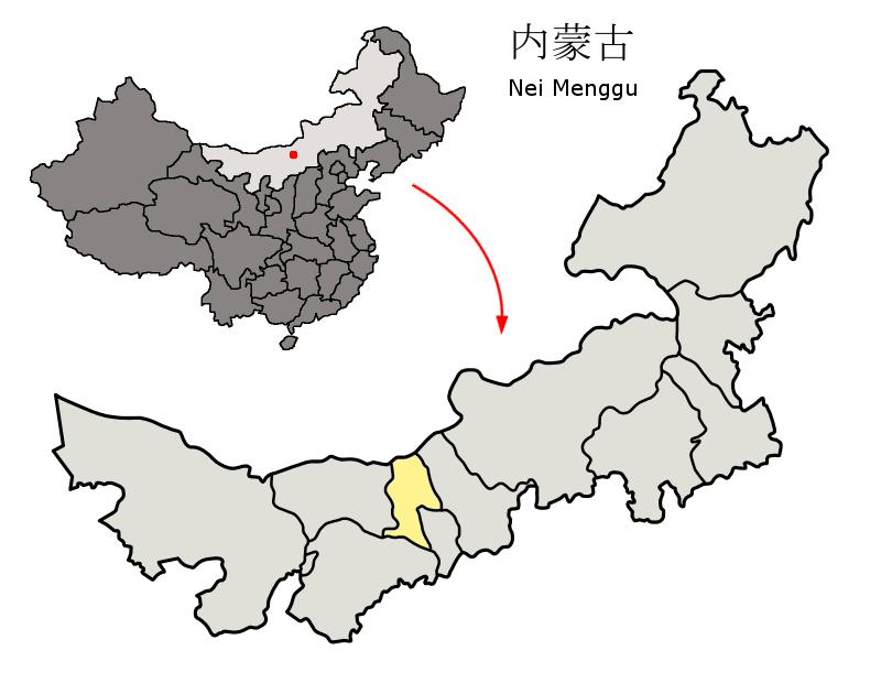 内モンゴル自治区の中の包頭市の位置