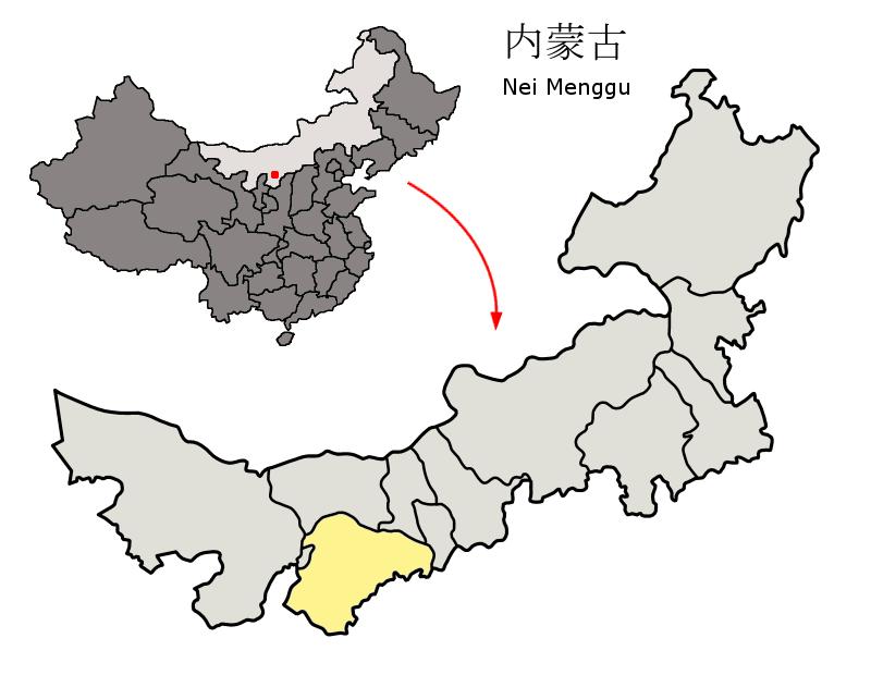 内モンゴル自治区の中のオルドス市の位置