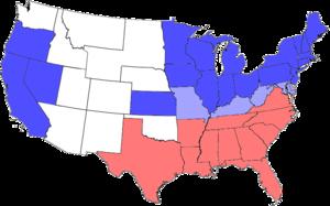 青が北部(アメリカ合衆国)諸州、赤が南部(アメリカ連合国)諸州。水色は合衆国に留まった奴隷州。