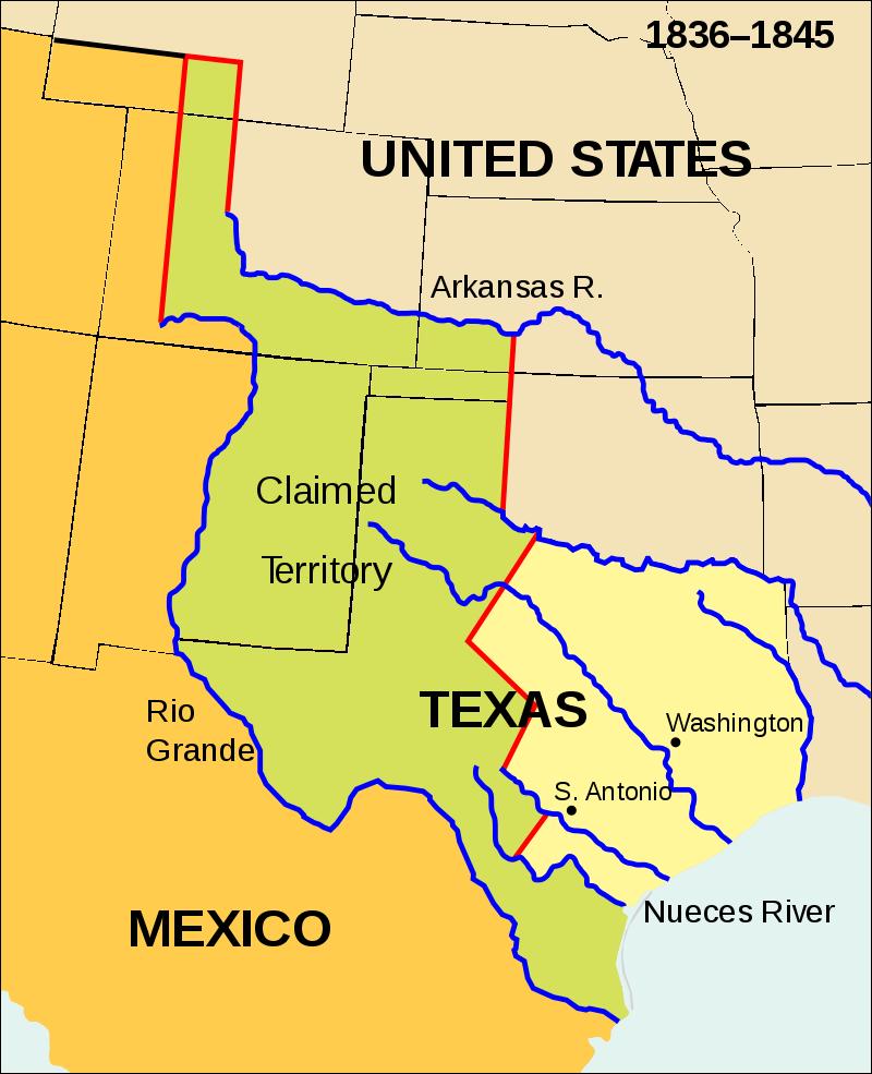 テキサス共和国(黄:実効支配地域、緑:領土権係争地域)