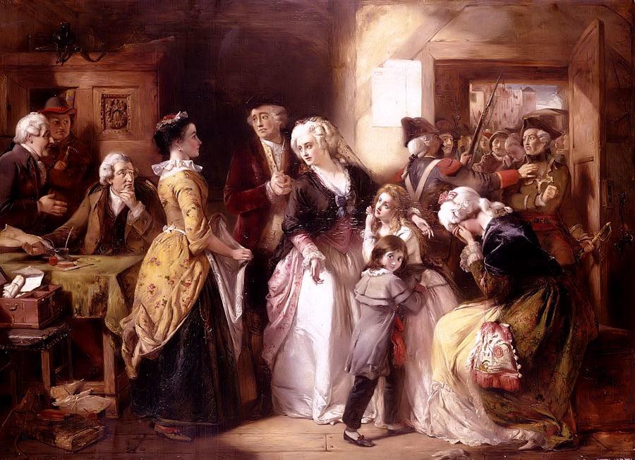 ブルジョワに扮したルイ16世とその家族が逮捕される場面