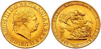 イギリスで金本位制を確立した、1817年銘 最初のソブリン金貨