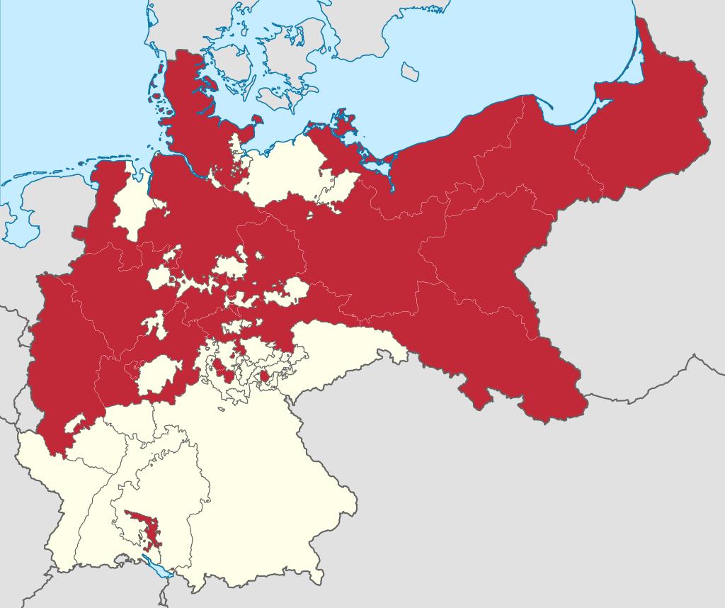 ドイツ統一時のプロイセン王国の領土(1871年から1918年)