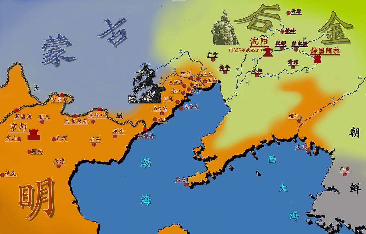 1626年時点の後金の領土