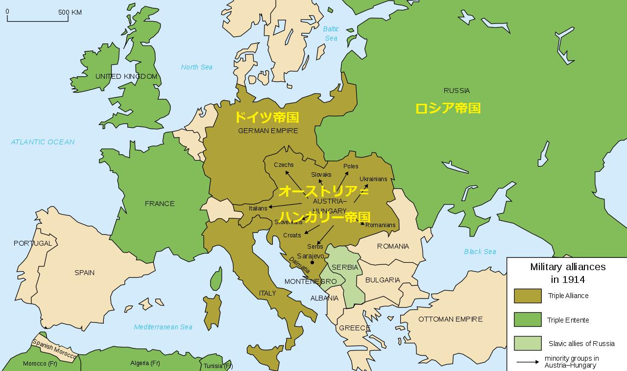 1914年時点で2つの陣営に分けられたヨーロッパ。緑は三国協商、茶色は三国同盟。