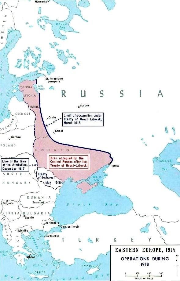 条約によってロシアがドイツに割譲した地域。
