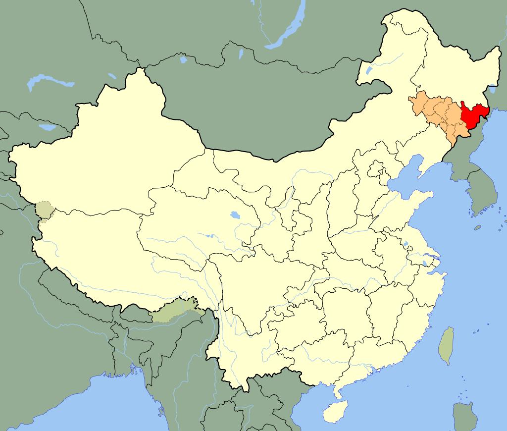 吉林省(オレンジ)の延辺朝鮮族自治州(赤)
