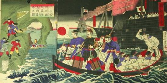 朝鮮反乱軍に襲撃される花房義質公使一行(楊洲周延の錦絵)