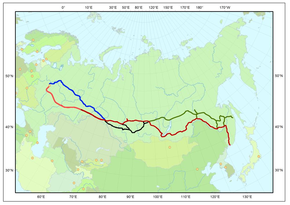広義のシベリア鉄道の路線(赤)と、バイカル・アムール鉄道(バム鉄道、緑)