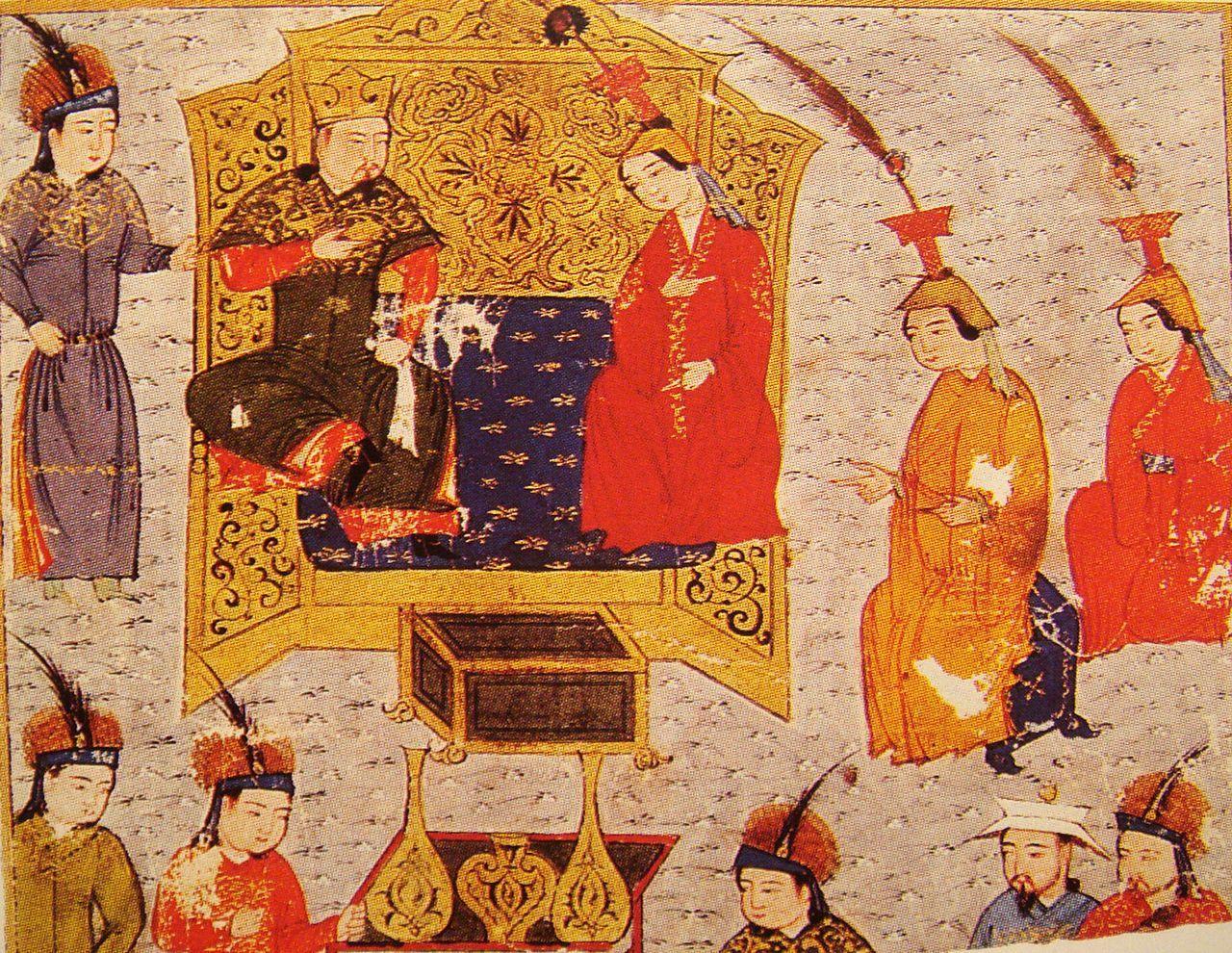 玉座のトルイとその家族。トルイの左手に座る婦人は正妃ソルコクタニ・ベキか