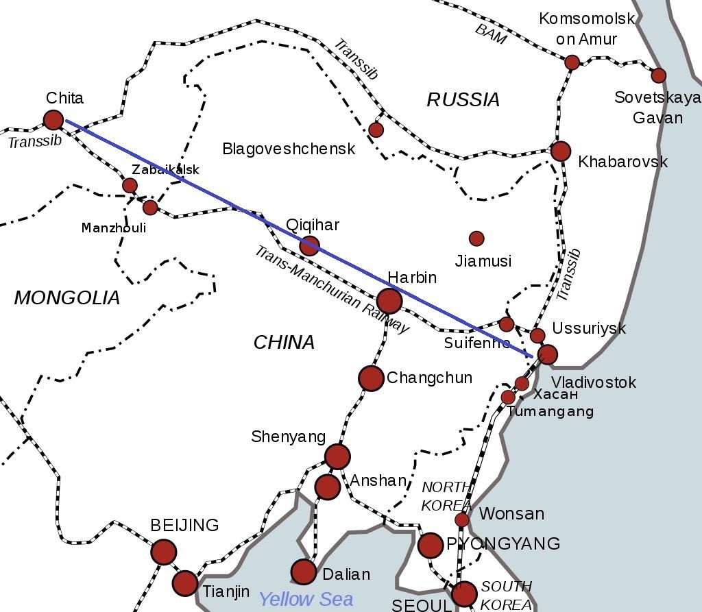 東清鉄道周辺の路線図