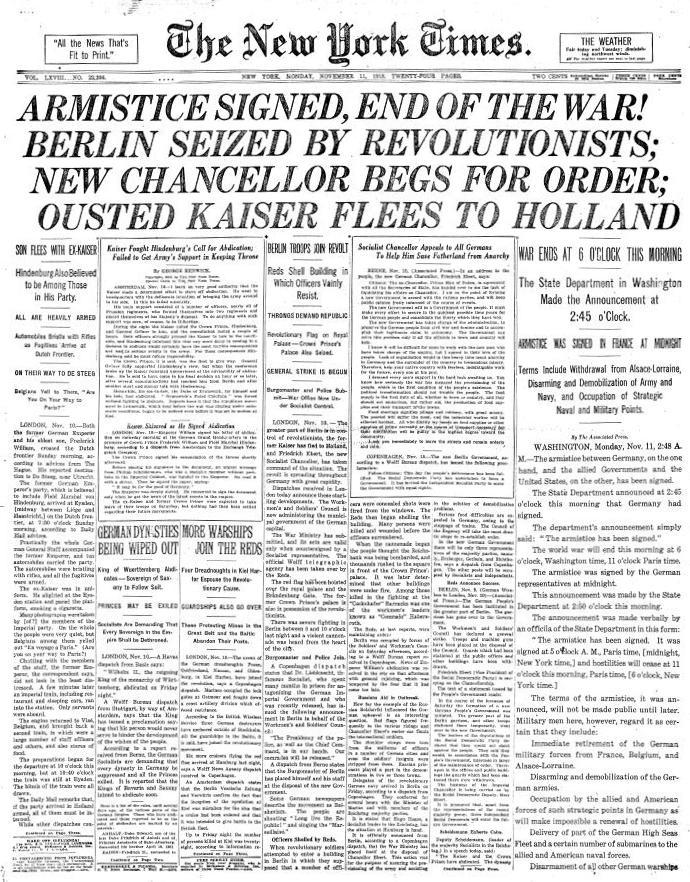 1918年11月11日付ニューヨーク・タイムズ
