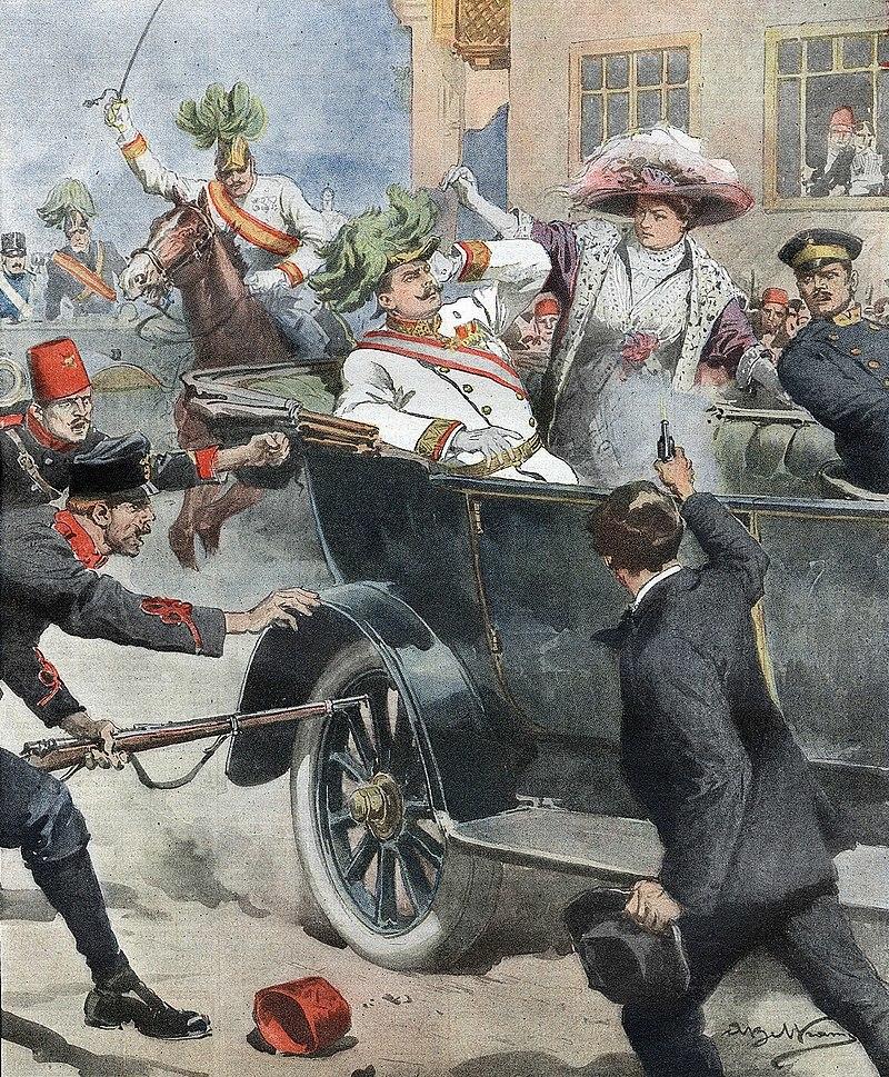 サラエボ事件(暗殺場面を描いた新聞挿絵, 1914年7月12日付)