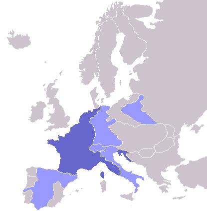 1811年のヨーロッパ。濃い青はフランス帝国の領土。薄い青はフランスの衛星国