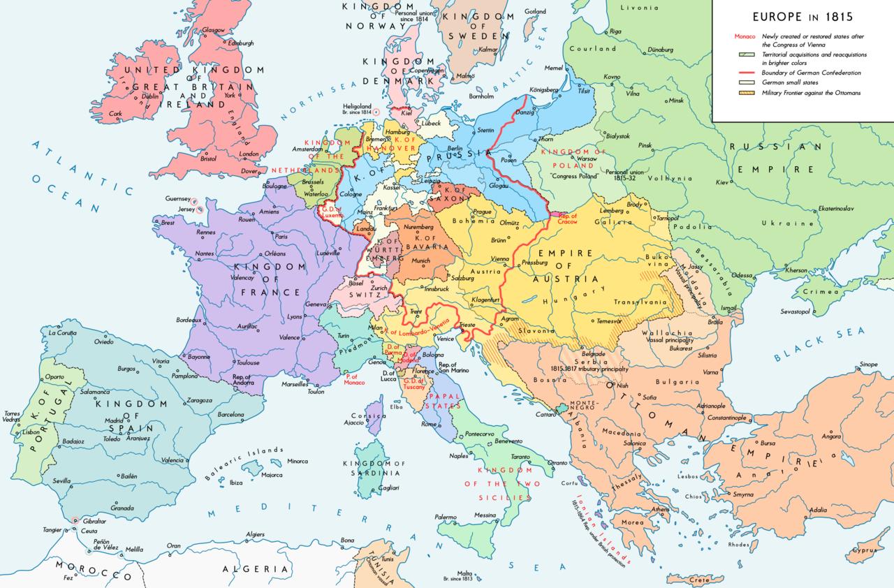 ウィーン会議の後のヨーロッパ(1815年)