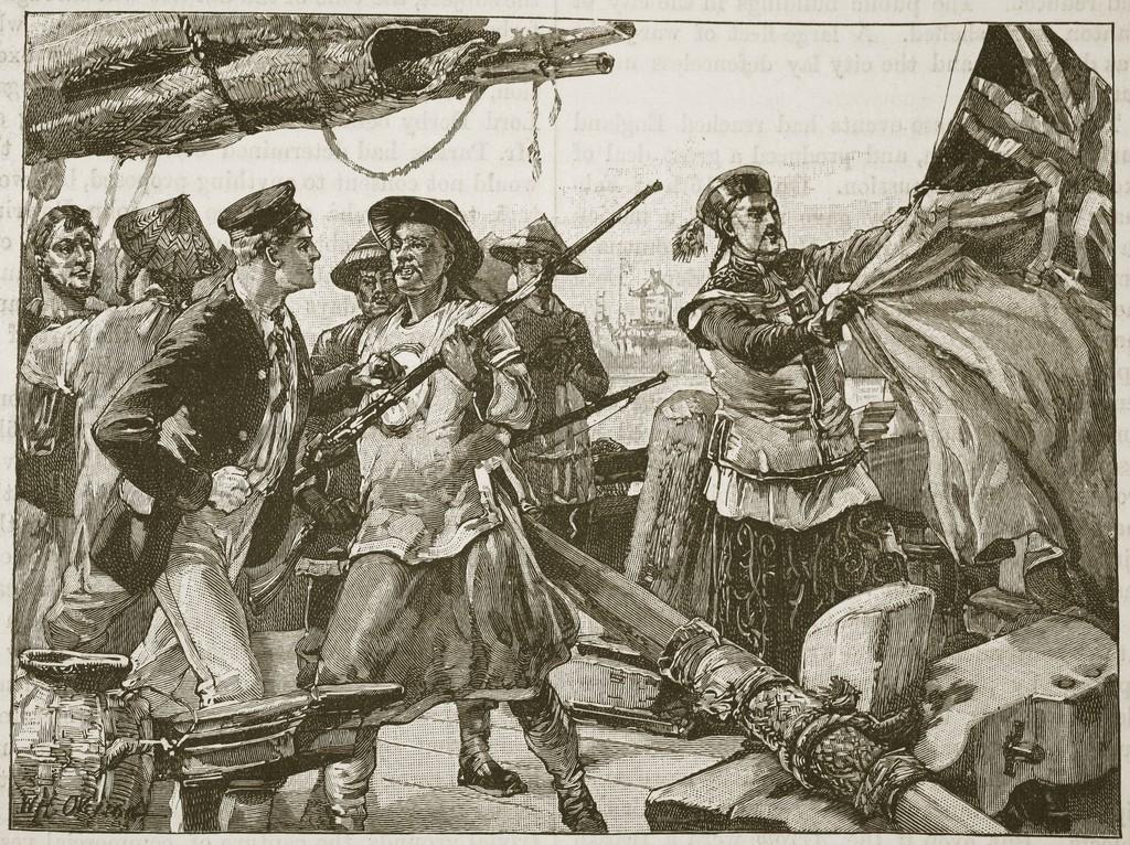 アロー号を拿捕する清国兵