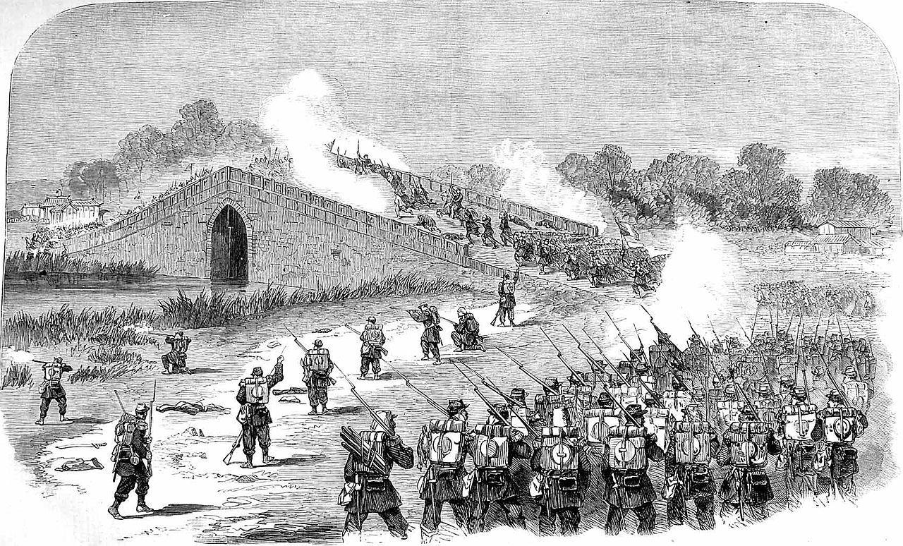 八里橋へ侵攻するフランス軍(1860年)