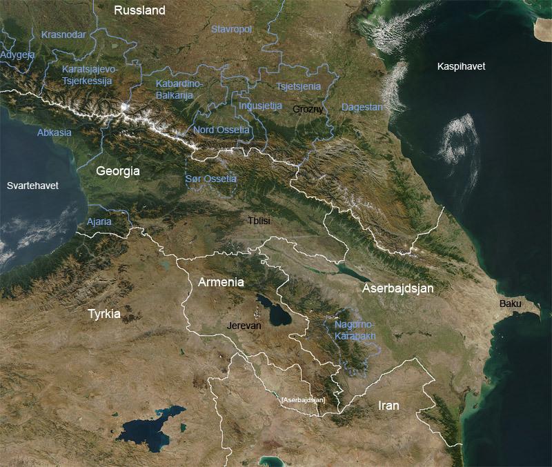 南コーカサス周辺の衛星写真と国境