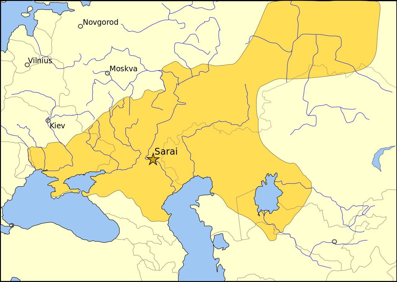1389年、ティムールとの戦い以前のジョチ・ウルス。星印が首都サライ(新サライ)