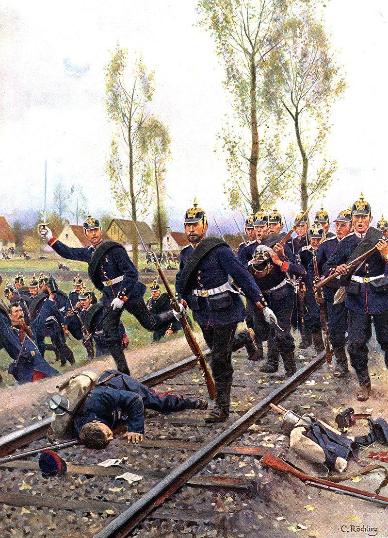 普仏戦争で進軍するプロイセン軍。