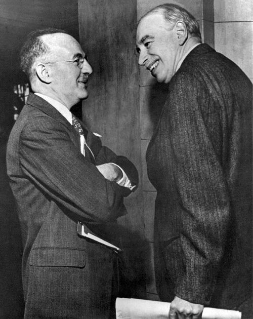 ブレトン・ウッズ協定でのハリー・ホワイト(左)とケインズ(右)