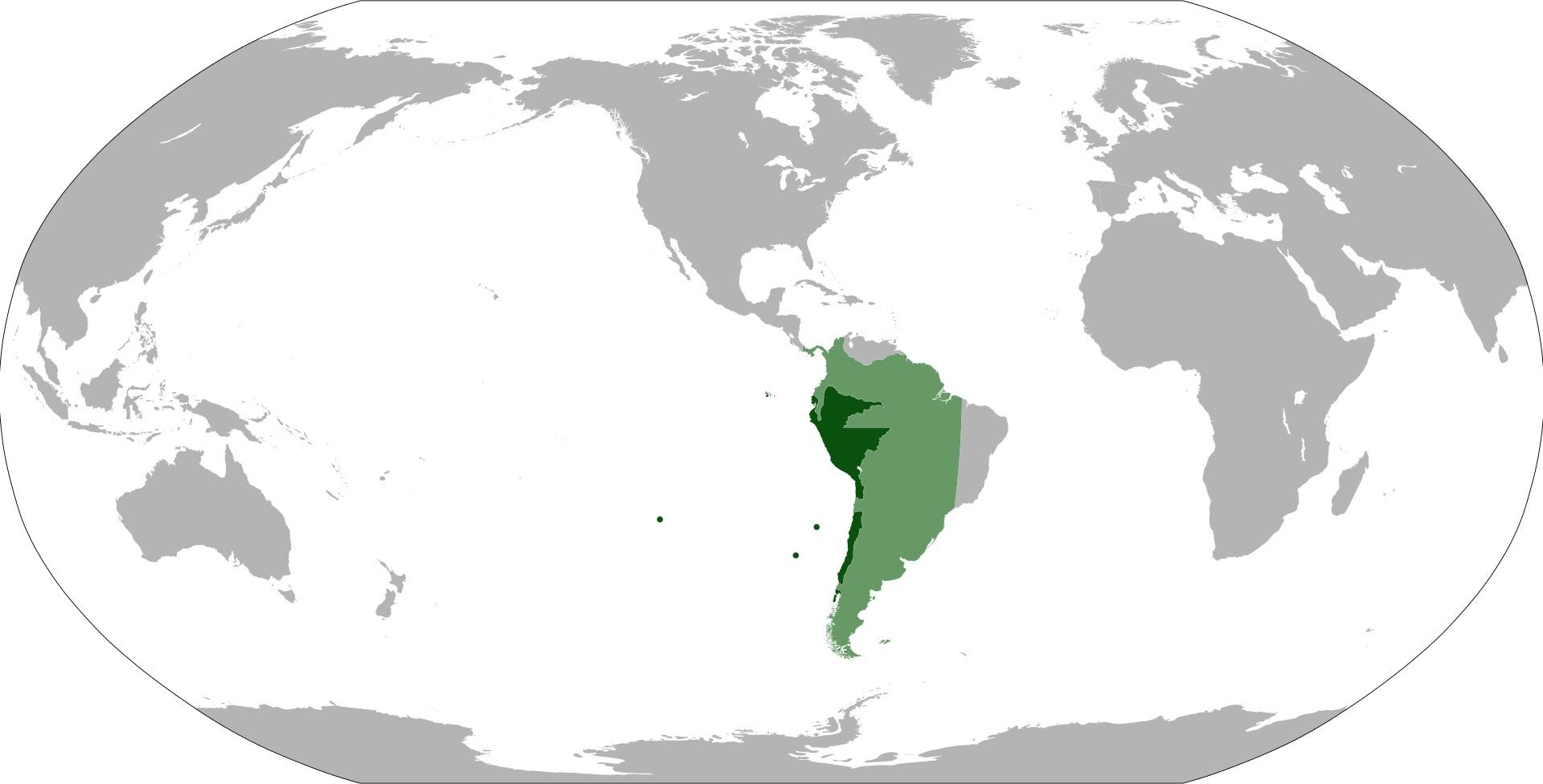 ペルー副王領の位置:1542-1718の領土(薄緑、濃緑)、1718-1824年の領土(濃緑)