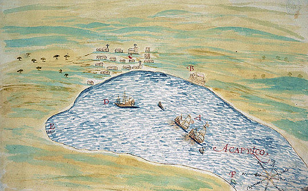スペインで1632年に刊行された本に描かれたアカプルコ湾。