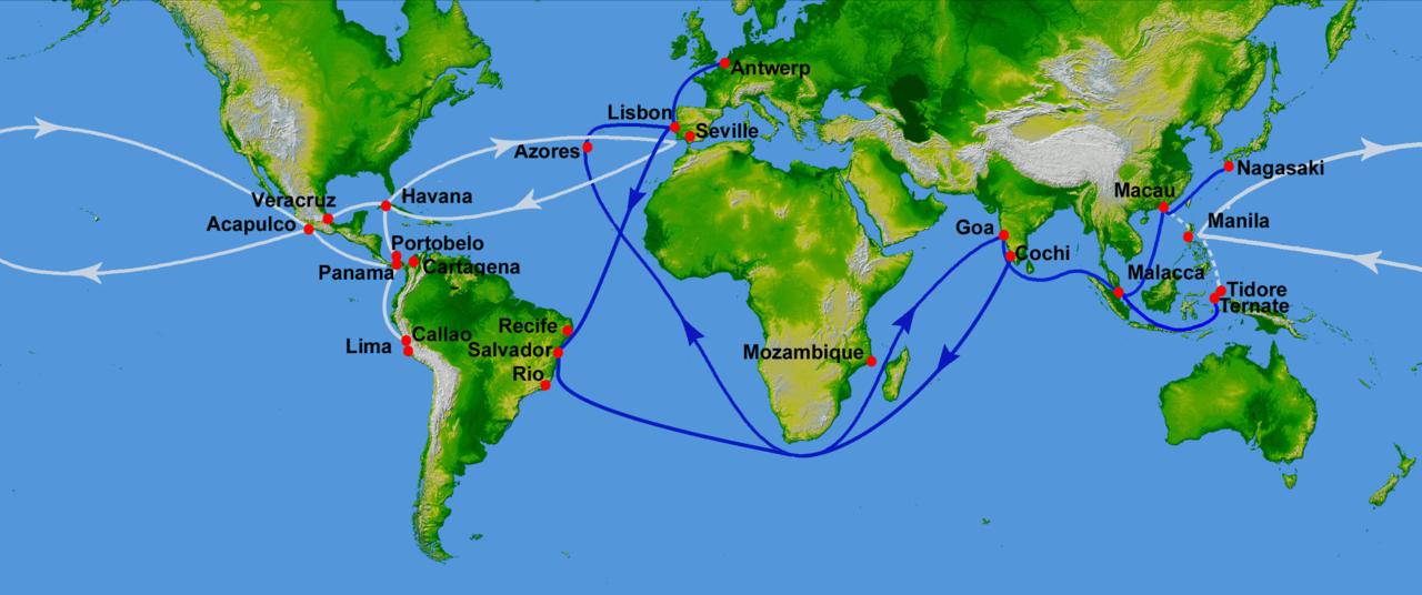 白線はマニラ・ガレオンの航路、青線はポルトガルの航路