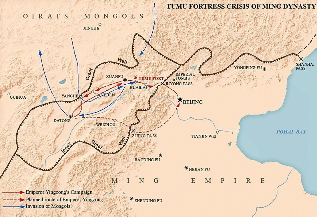 明軍とオイラート軍の進路