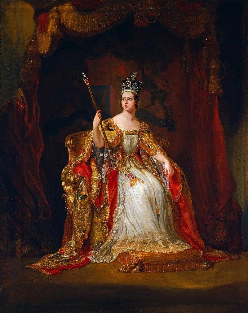戴冠式の際のヴィクトリア女王を描いたジョージ・ハイターの肖像画。1838年