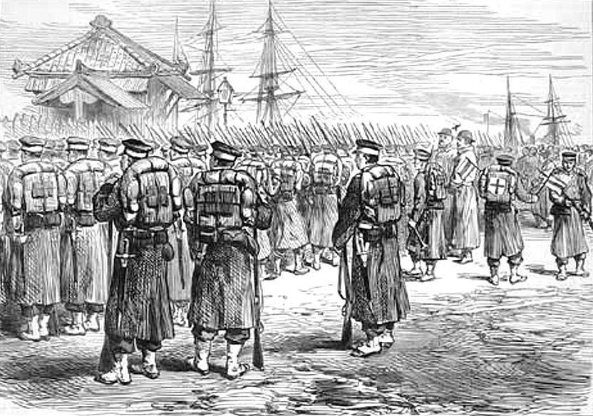 西郷軍を討つために横浜港から発つ帝国陸軍(1877年)
